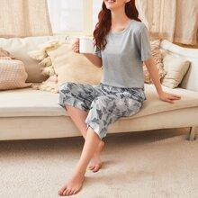 Tee & Butterfly Print Pants Pajama Set