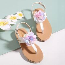 Toddler Girls Floral Appliques Thong Sandals
