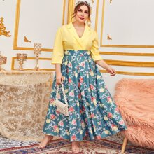 Plus Notched Collared Colorblock Boxy Pleated Floral Dress