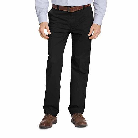 IZOD Big & Tall Sportflex Waistband Stretch Flat Front Chino Pant, 50 29, Black