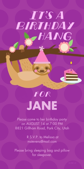 Kids Birthday Party 4x8 Flat Card Set, 85lb, Card & Stationery -Sloth Birthday Hang Invitation by Hallmark