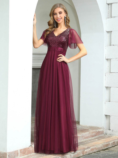 Milanoo Evening Dress Sequins Bodice A-Line V-Neck Floor-Length Short Sleeves Backless Chiffon Social Party Dresses