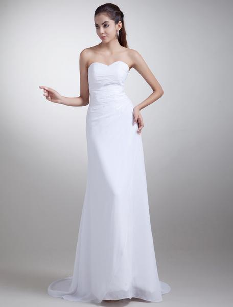 Milanoo Modern White Sheath Strapless Beading Chiffon Bride's Wedding Dress