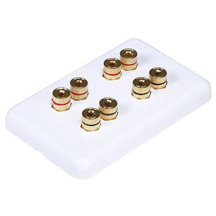 High Quality Banana Binding Post Wall Plate for 4 Speaker - Coupler Type - Monoprice®