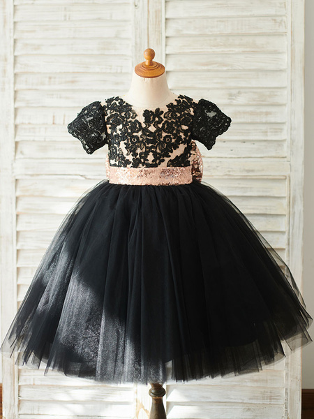 Milanoo Flower Girl Dresses Bows Short Sleeves Jewel Neck Black Kids Party Dresses