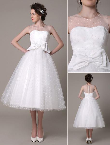 Milanoo Vestido de novia de tul escote palabra de honor lazo hasta la pantorrilla