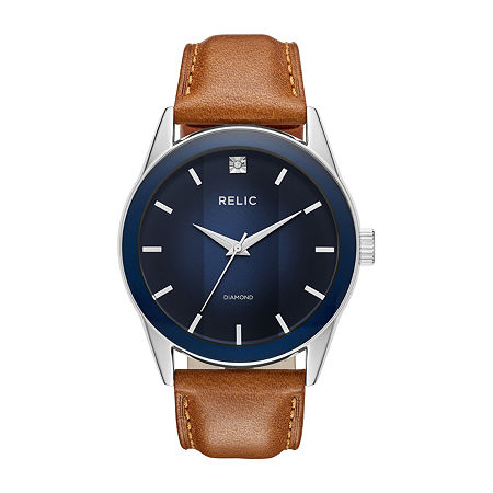 Relic By Fossil Mens Brown Leather Bracelet Watch-Zr77294, One Size , No Color Family