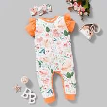 Baby Maedchen Jumpsuit mit Blumen Muster, Ruesche & Stirnband