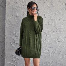 Strick Pulloverkleid mit Rollkragen und sehr tief angesetzter Schulterpartie