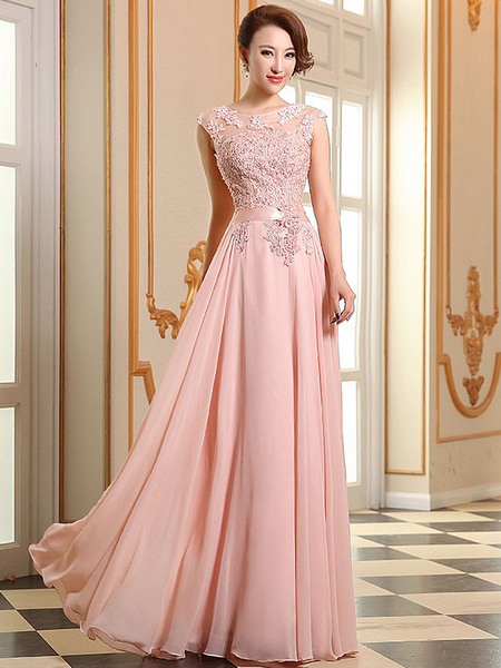 Milanoo Prom Dresses Soft Pink Lace Applique Evening Dresses Chiffon Sleeveless Sash Floor Length Formal Gowns