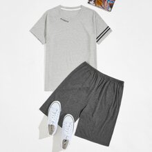 Guys Letter Graphic Side Striped Tee With Shorts PJ Set
