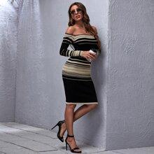 Vestidos de Punto A rayas Elegante