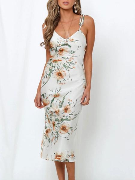 Milanoo Backless sin mangas floral bodycon vestido vestidos Slip