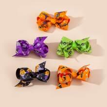 5 piezas horquilla de niñitas con lazo con patron de Halloween