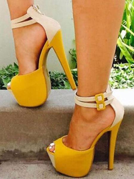 Milanoo Sandalias de tacon alto Plataforma de gamuza Peep Toe Correa del tobillo Sandalia zapatos Mujeres Zapatos sexy