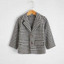 Toddler Boys Lapel Neck Gingham Coat
