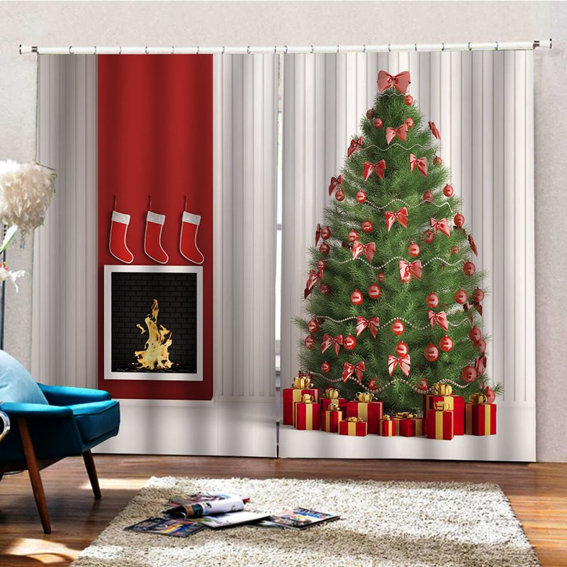 Christmas Thick Fabric 3D HD Digital Print Blackout Heat-proof Curtain Festival Decor