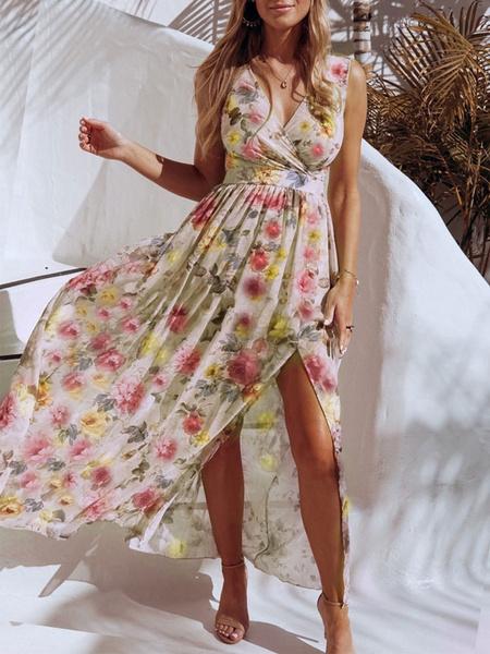 Milanoo Floral Maxi Dress Sleeveless V Neck Split Chiffon Summer Dress