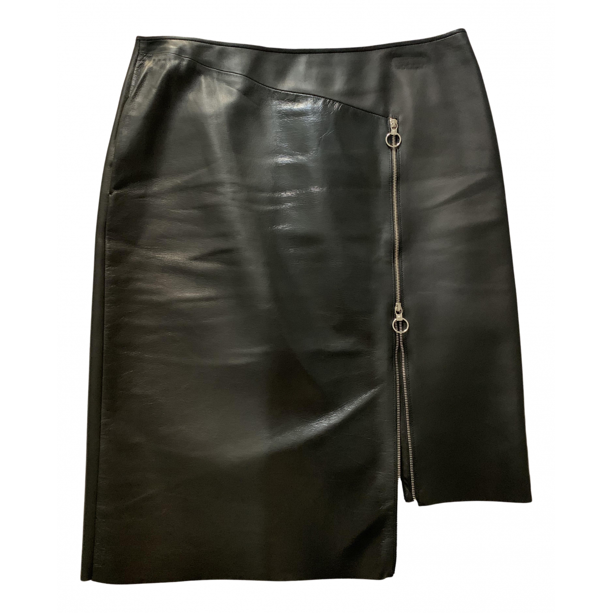 Versace N Black Leather skirt for Women 44 IT