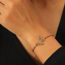 Rhinestone Butterfly Decor Bracelet
