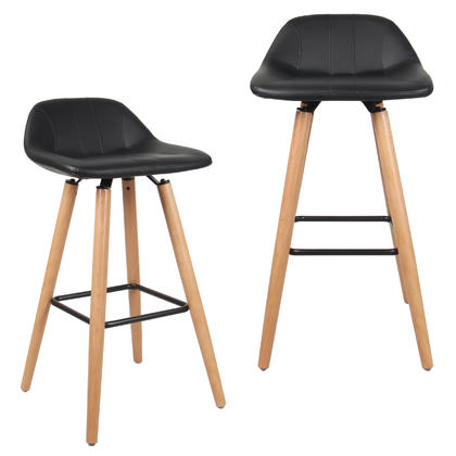 Leather Bar Stool with Beech Wood Legs - Moustache@ - 2/Pack, Black