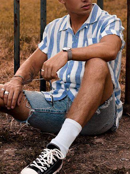 Yoins INCERUN Men Striped Pocket Front Cotton Shirt
