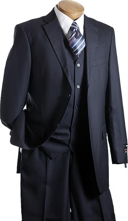 3 PC Vested Navy TNT Mens Designer affordable suit online sale