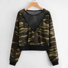 Pullover mit Kontrast, Fischnetzstoff, sehr tief angesetzter Schulterpartie und Camo Muster
