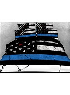 US Flag Bedding American Fourth of July Theme Reactive Print Polyester 3D Duvet Cover Bedding Sets 4 Pieces
