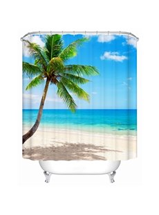 3D Beach and Coconut Tree Printed Polyester Bathroom Shower Curtain