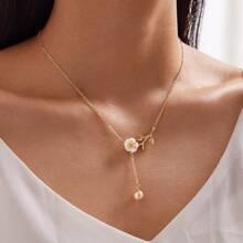 1 pieza collar con diseño floral con perla artificial