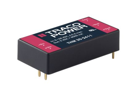 TRACOPOWER THM 30 30W Isolated DC-DC Converter Through Hole, Voltage in 18 → 36 V dc, Voltage out 5V dc Medical