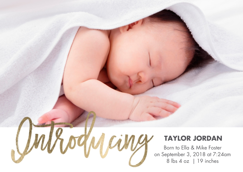Baby Boy Announcements 5x7 Cards, Premium Cardstock 120lb with Elegant Corners, Card & Stationery -Baby Introducing Gold