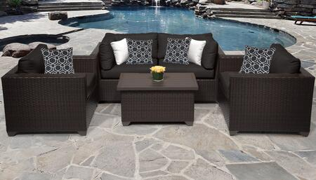 Belle Collection BELLE-05b-BLACK 5-Piece Patio Set 05b with 2 Corner Chair   1 Coffee Table   2 Club Chair - Wheat and Black