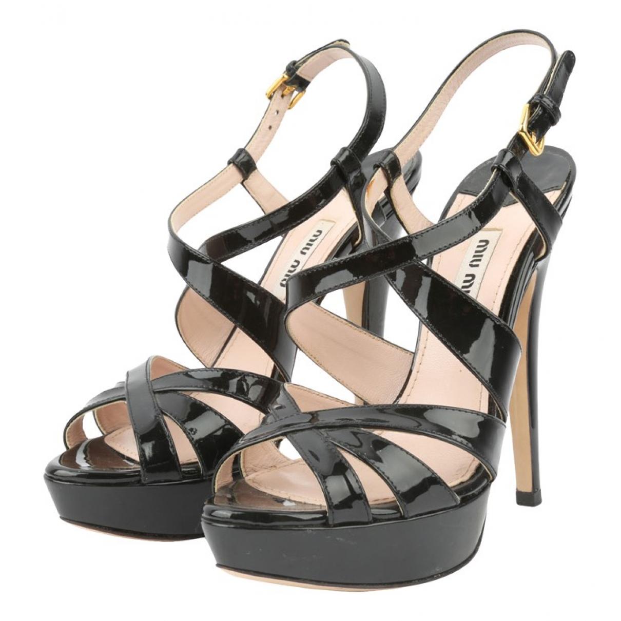 Miu Miu \N Black Patent leather Sandals for Women 36 EU