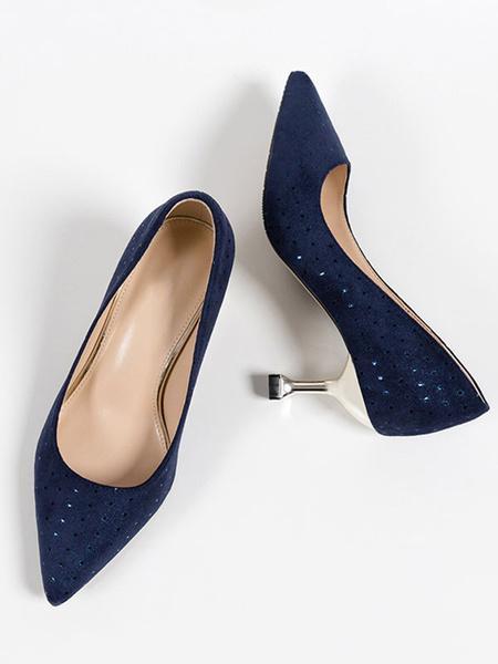 Milanoo Tacones medio-bajos para mujer Elegantes zapatos con punta puntiaguda Tacones sin cordones Bombas