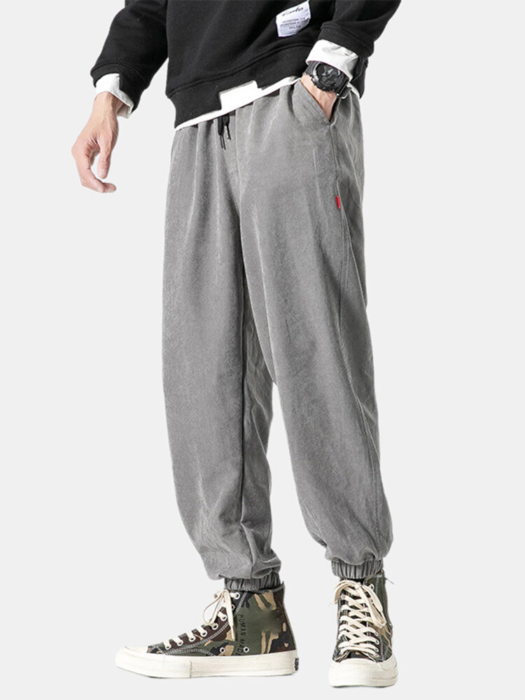 Mens Vintage Loose Track Pants Drawstring Plain Trousers