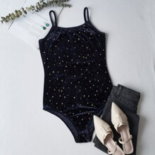 Velvet Galaxy Print Bodysuit