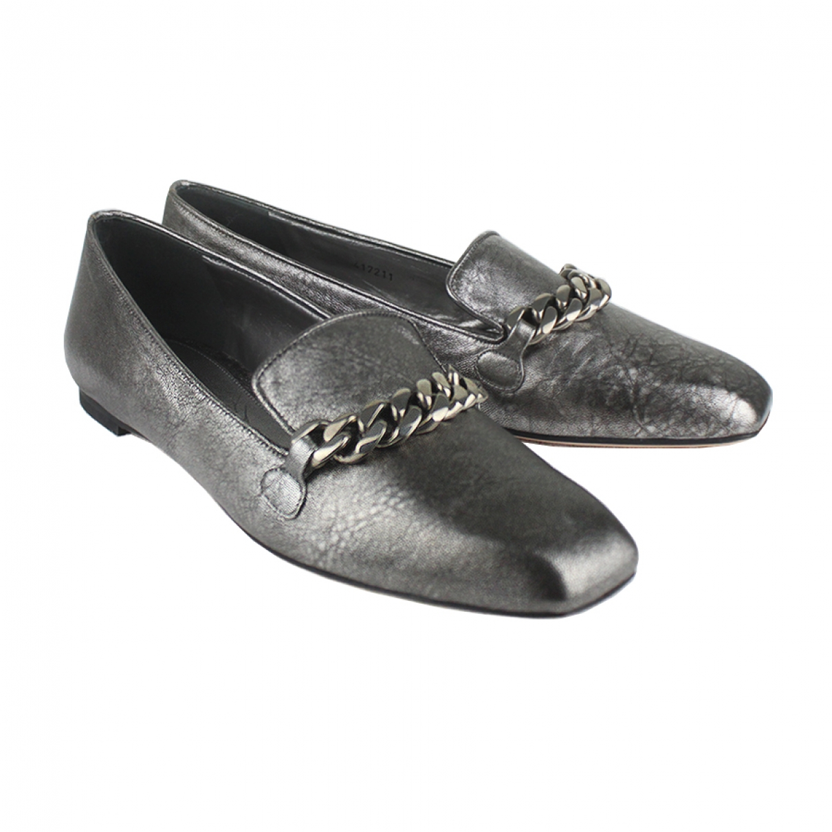 Alexander Mcqueen \N Silver Leather Flats for Women 36 IT