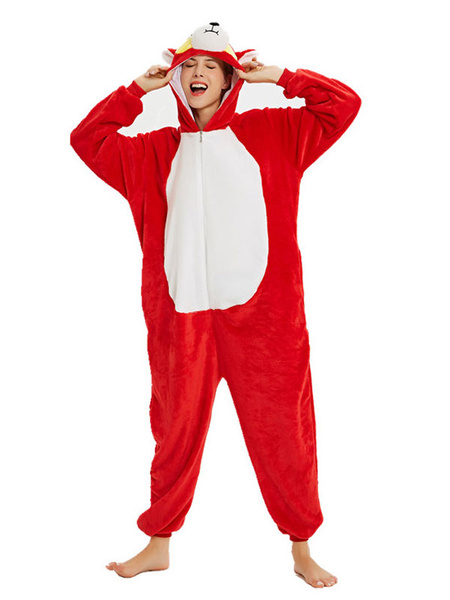 Milanoo Pajamas Kigurumi Onesie Cartoon Character Adult Flannel Front Zipper Winter Sleepwear Animal Costume Halloween