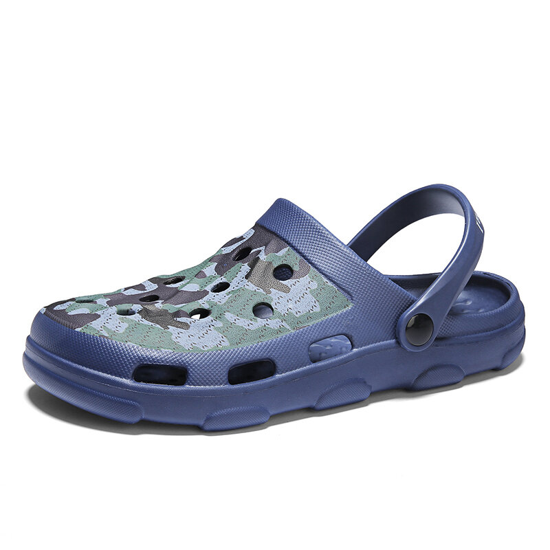 Men Adjustable Heel Strap Hole Clog Beach Water Sandals