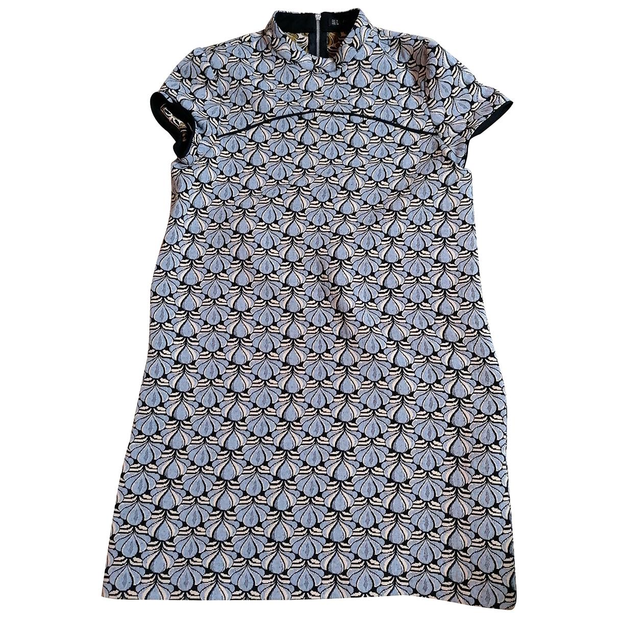 Zara - Robe   pour femme en coton - elasthane - bleu