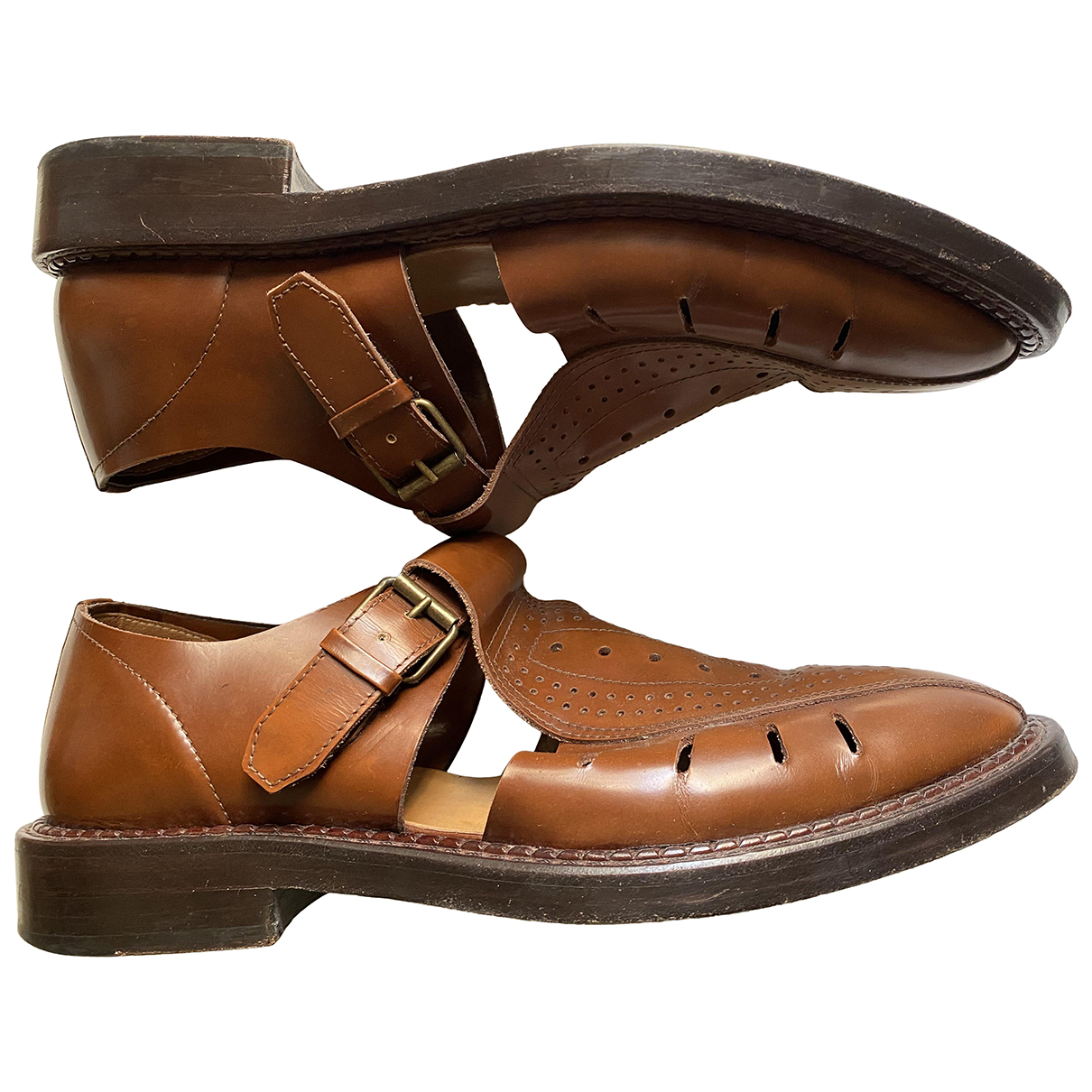 Kenzo N Brown Leather Sandals for Men 44 EU