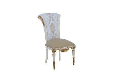 Valentina Collection Luxury Dining Side Chair  Mahogany Wood Solid Base and Frame  Hand Carved & Handcrafted  in Beige and Gold
