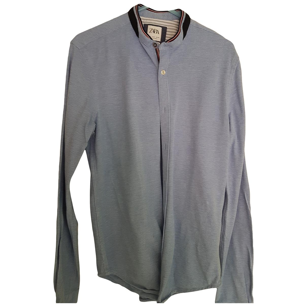 Zara - Polos   pour homme en coton - bleu
