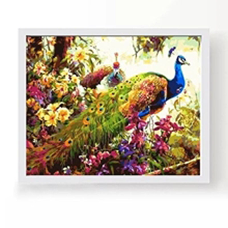 Peacock DIY Coloring Game Animal Digital Printed Oil Painting with Acrylic Paint Color Pens and Pine Framework