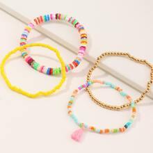 4pcs Toddler Girls Beaded Bracelet