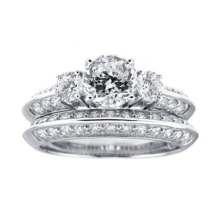 DiamonArt Cubic Zirconia Sterling Silver 3-Stone Bridal Ring Set, 8 , No Color Family