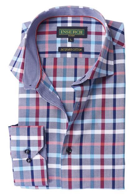 Men's Button Closure Multi Collared Jacquared Cotton Shirt