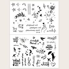 2 Blaetter Tattoo Aufkleber mit gemischtem Muster